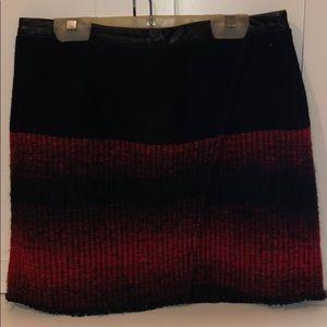Woven skirt with vegan leather waist line